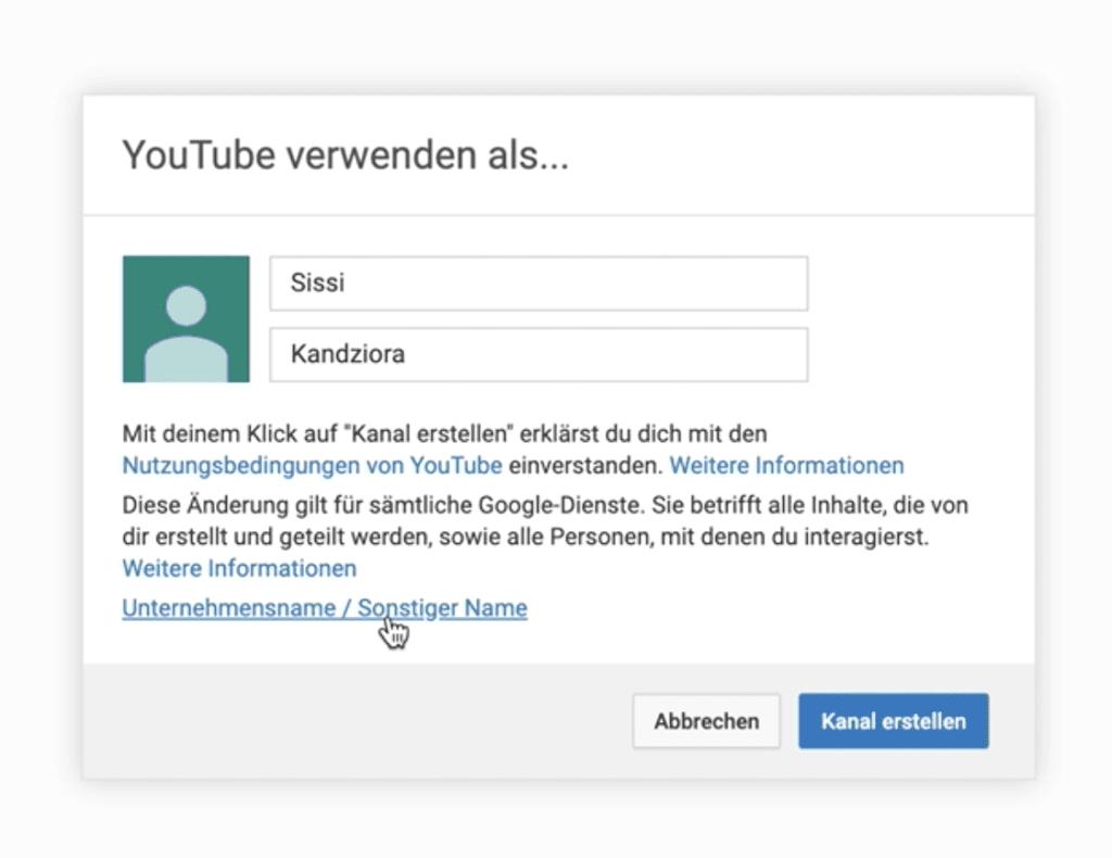 YouTube Kanal erstellen mit Unternehmensname oder Künstlername