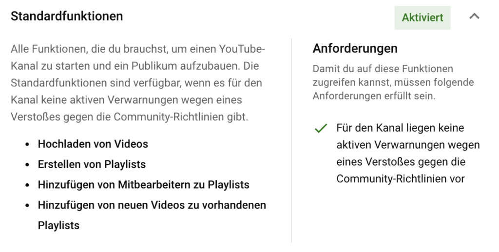 YouTube Standardfunktionen
